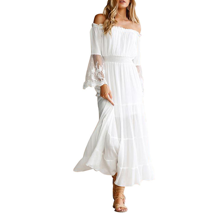 Summer 2019 Woman Dress Sexy Off Shoulder 긴 Sleeve Maxi 흰 레이스 드레스