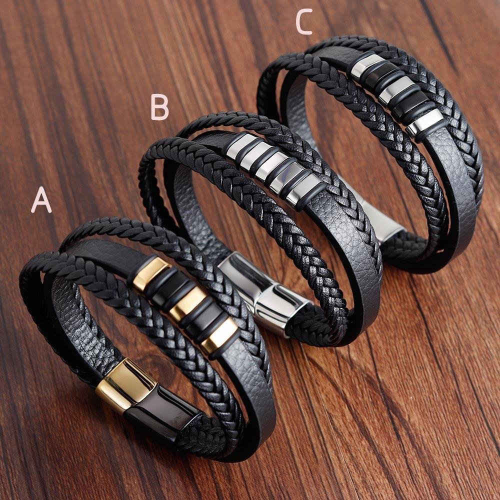New Arrival Men's Leather Hand Jewelry 3 Layers Real Leather Bracelet Magnetic Clasp Men Bracelet