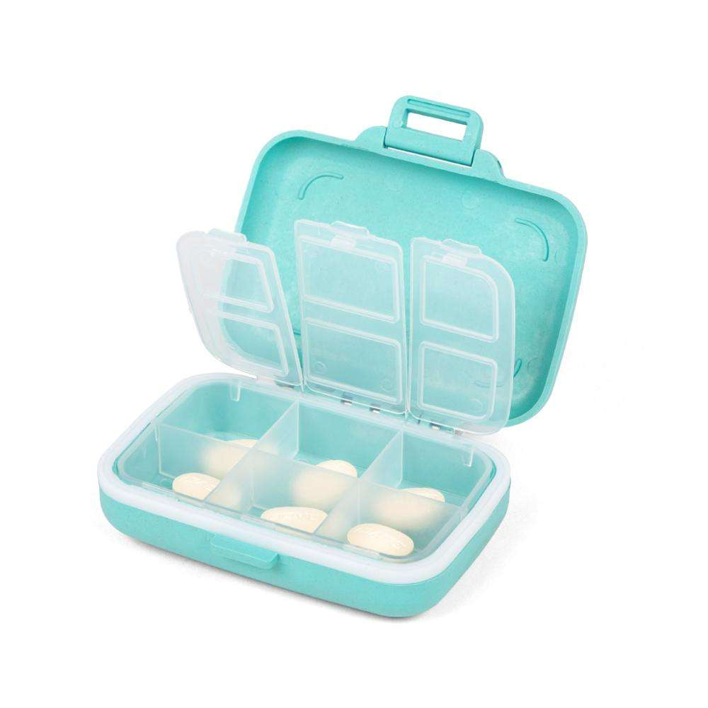 Eco-friendly paglia di grano <span class=keywords><strong>6</strong></span> vano pill organizer box