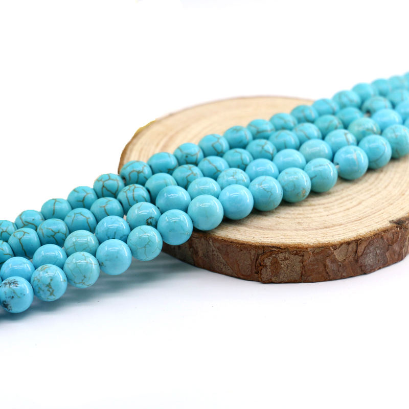 XULIN Wholesale Fashion Round Embellishment Blue Color Loose Real Natural Turquoise Gemstones Beads