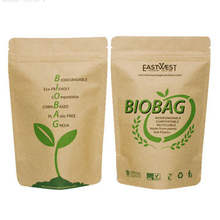 Eco-friendly, Biodegradable and compostable kraft paper Stand Up Pouch for dry fruits, tea packaging