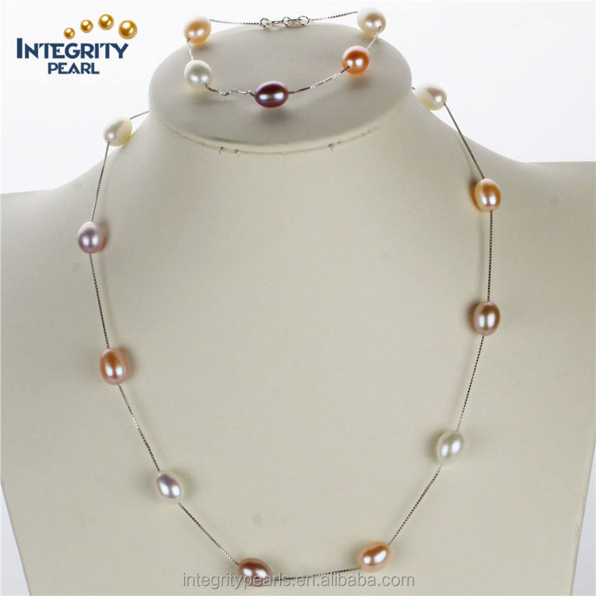 Natural freshwater pearl set 8mm AAA drop mixed color silver pearl sets