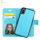 2 IN 1 Detachable Magnetic Folio Flip Cover Leather Wallet Case For iPhone X