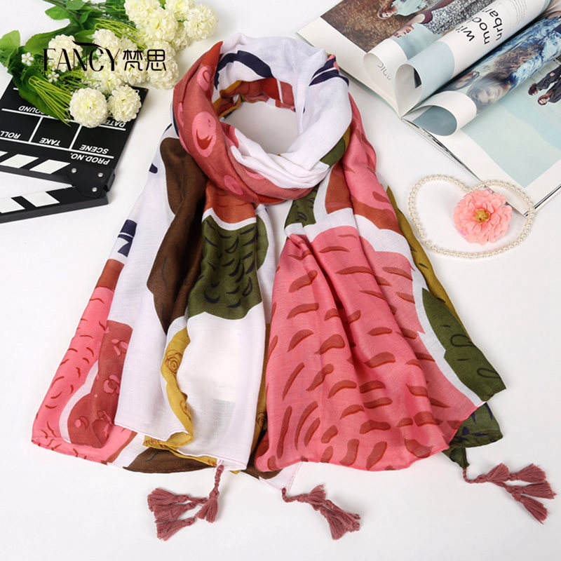 Women's Cartoon Print Fabric Viscose Scarf with Tassels