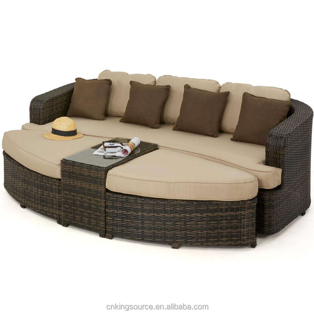 All Weather resin wicker outdoor rattan sofa daybed set