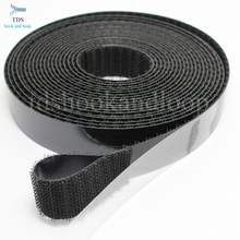Black 25mm wide hook and loop self adhesive sticky back tape