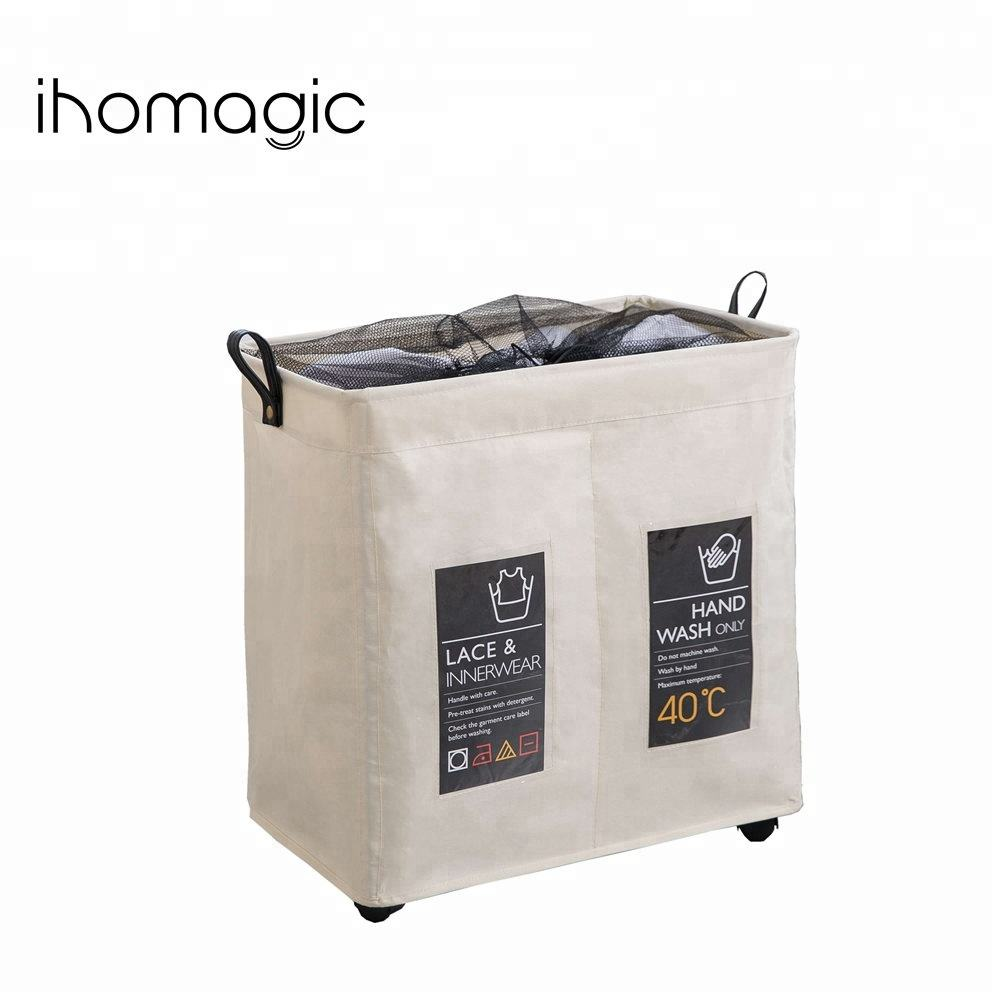 Custom foldable collapsible clothes double divided laundry sorter hamper with wheels