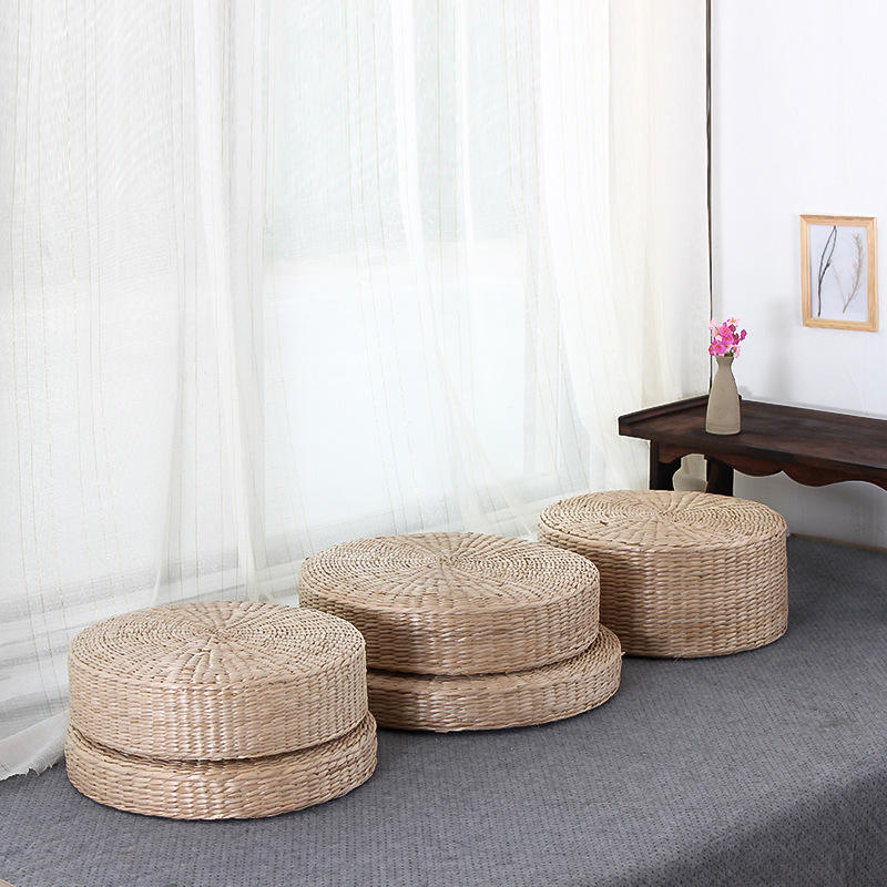 Japanese Style Handcrafted Weavng Padded Knitted Meditation Pad Seat Yoga Cushion hand Woven Tatami Floor Cushion