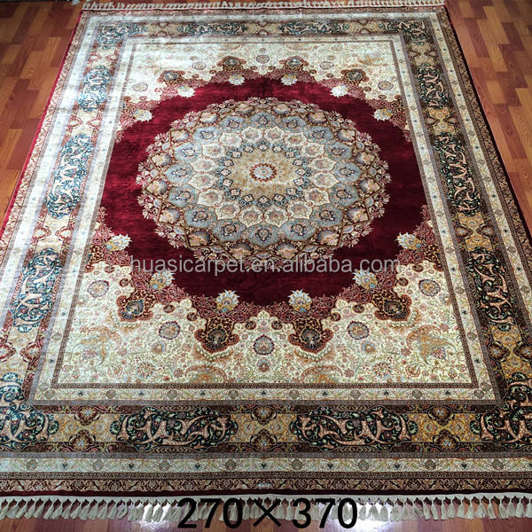 9x12ft hand made silk tukish persian rugs hand tufted silk carpet for living room