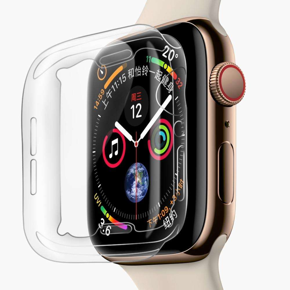 0.9 미리메터 slim soft TPU case 대 한 iWatch series 4 투명 cover, screen protector cover 대 한 Apple Watch S4 case