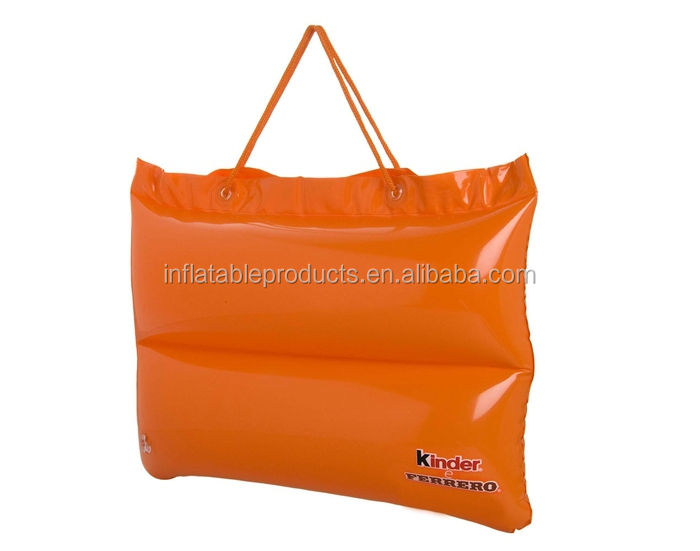 Custom Logo And Printing Inflatable Beach PILLOW & BAG - Travel Camping Neck & Head Plastic Cushion