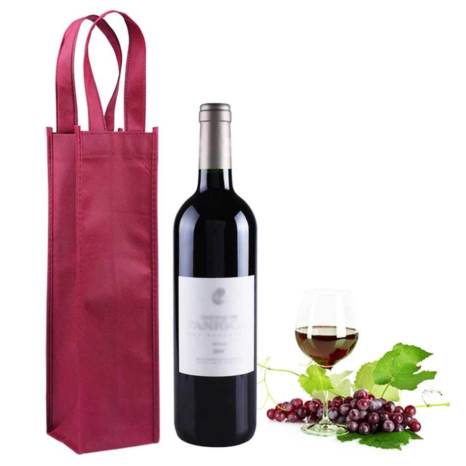 China High Quality New Grocery Wine Glass Bottle Travel Bag,Non Woven Bag Champagne