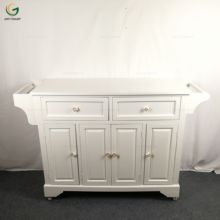 Wooden White Painted Rolling Kitchen Island
