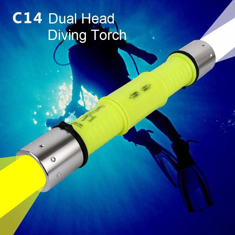 Goread c14 alta brillante linterna de buceo led dual blanco iluminación iluminación de color amarillo