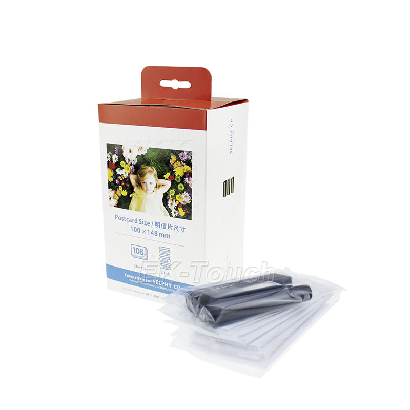 Cheap compatible paper canon 108 kp-108in ribbon for Canon kids photo selphy CP1000 photo paper