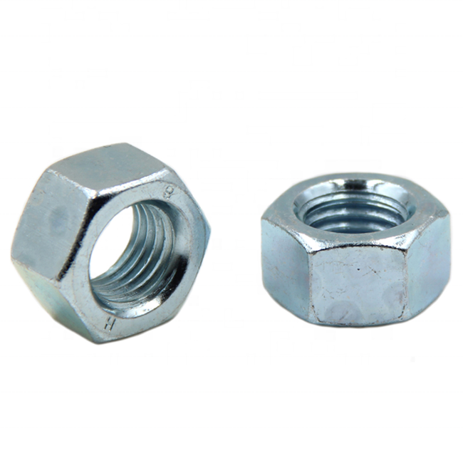 Zinc plated carbon steel hex nut M3-M30
