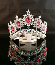 Manual Customization Full Round Big Shiny Beauty Queen Rhinestone Metal Silver Pink AB Pageant Contest Crown and Tiara