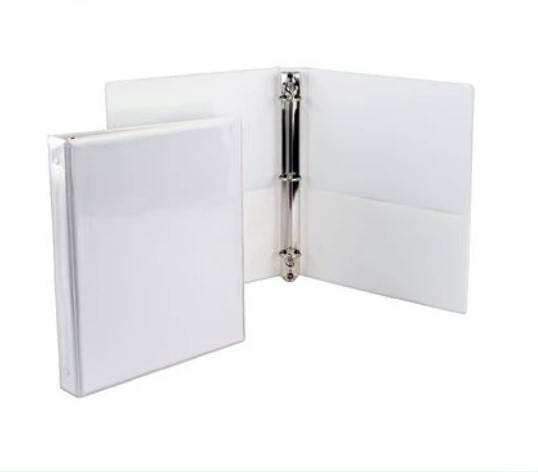 2 inches durable vinyl plastic 3 O ring shape loose-leaf file binder with transparent pocket