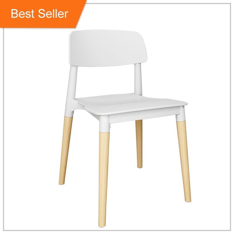 Italie moderne carré fête en plein air empilable meubles sans bras <span class=keywords><strong>hêtre</strong></span> bois chaise en plastique avec pieds en bois