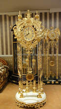 Luxury Brass With 24K Gold Plated Grandfather Clock , European Style Copper & Wooden Floor Clock, Bronze Mounted Art