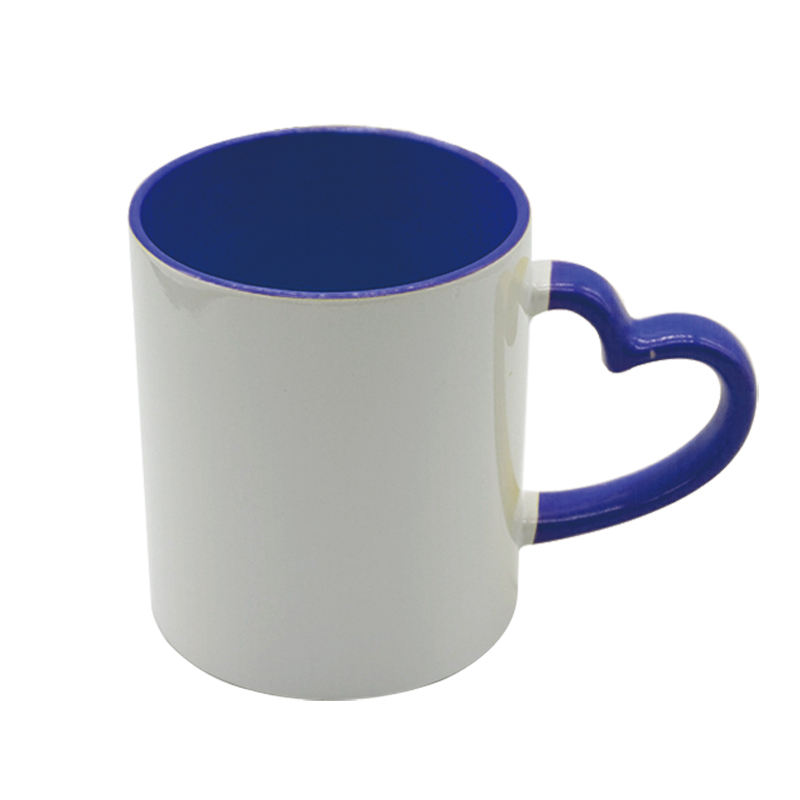Sunmeta 10 colors optional love heart mugs shaped coffee mug heart handle sublimation mug 11oz wholesale price