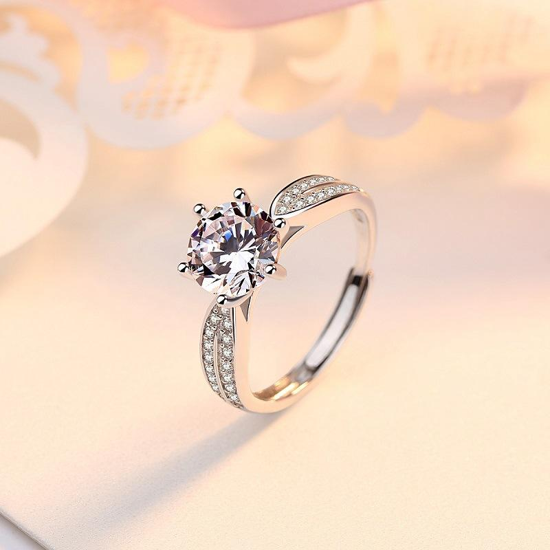 Hot Sales Sterling silver S925 Adjustable Six Claw Wedding Ring