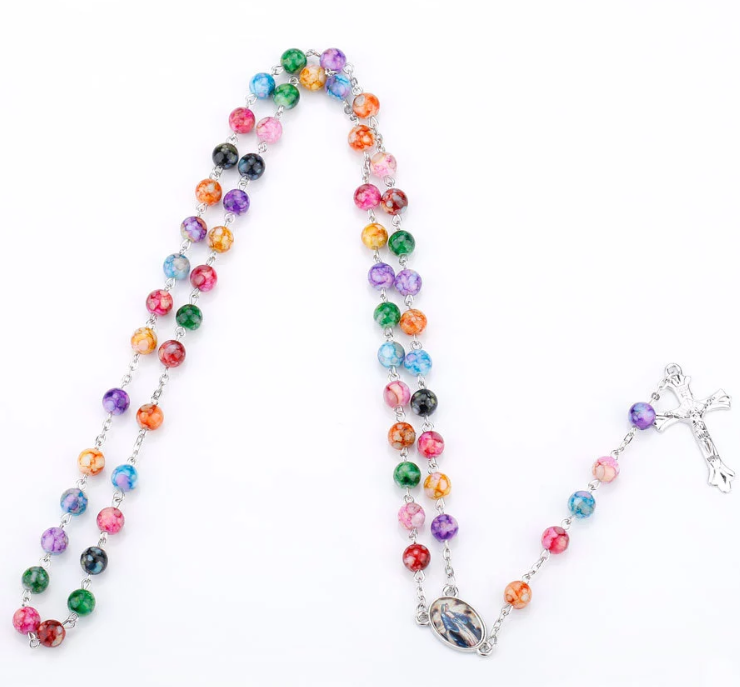 Classic Colorful Small Beads Necklace Holy Rosary religious rose quartz mala