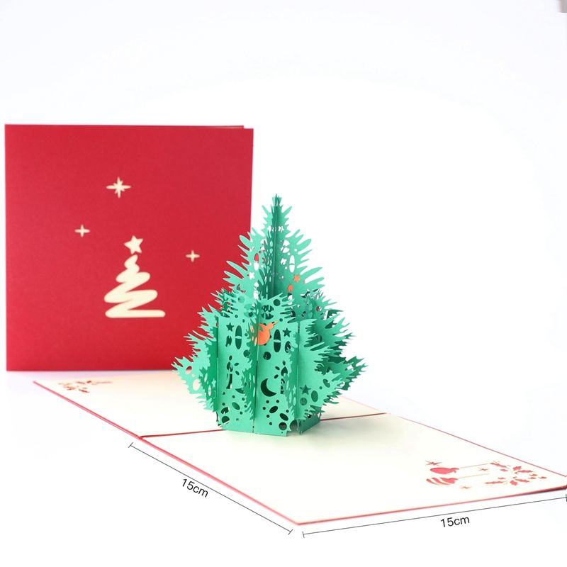 3D Merry Christmas Tree Card Xmas Greeting Cards 3D Laser Cut Pop Up Paper Bulk Handmade Postcards Custom Gifts