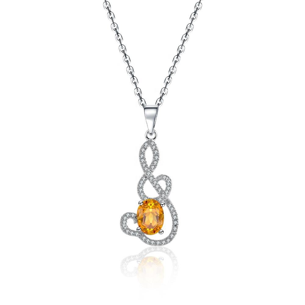 2019 fashion 925 sterling silver jewelry gold plated natural gemstone Pendant Citrine Crystal Yellow necklace chain jewelries