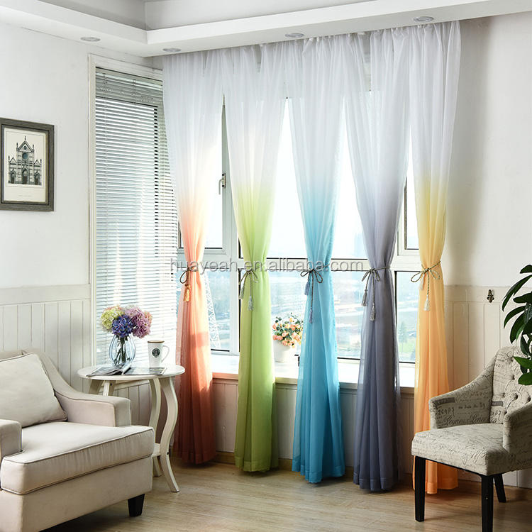 printing gradient rainbow curtain fabric sheer roll