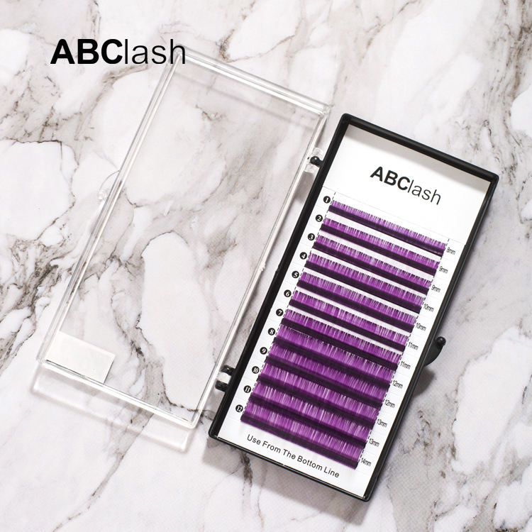 Best selling individual purple coloured lash extensions colored volume lashes