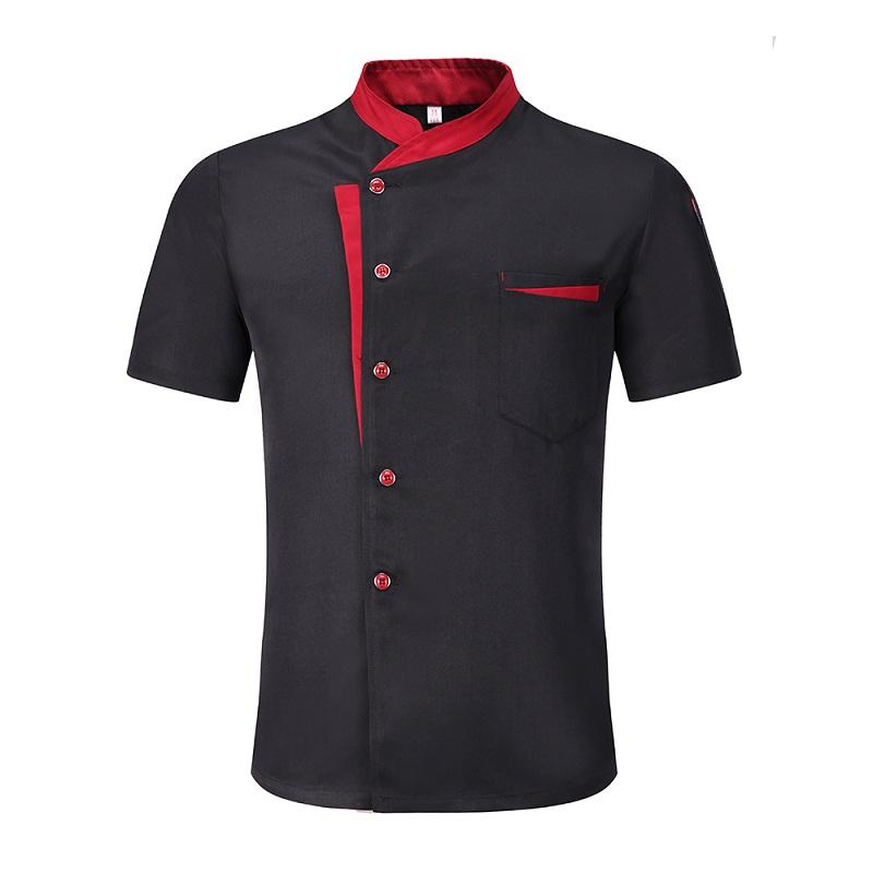 Fashion classic polyester katoen wit chef jas schuine fashion pocket ontwerp chef uniformen voor restaurant chef