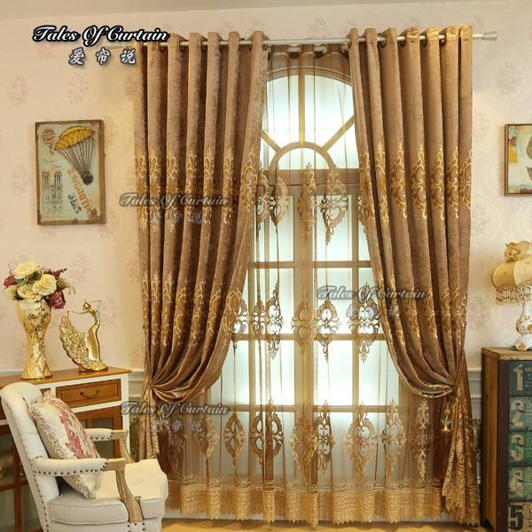 Curtain fashion design for living room with chenille and embroidery sheer curtain fabric