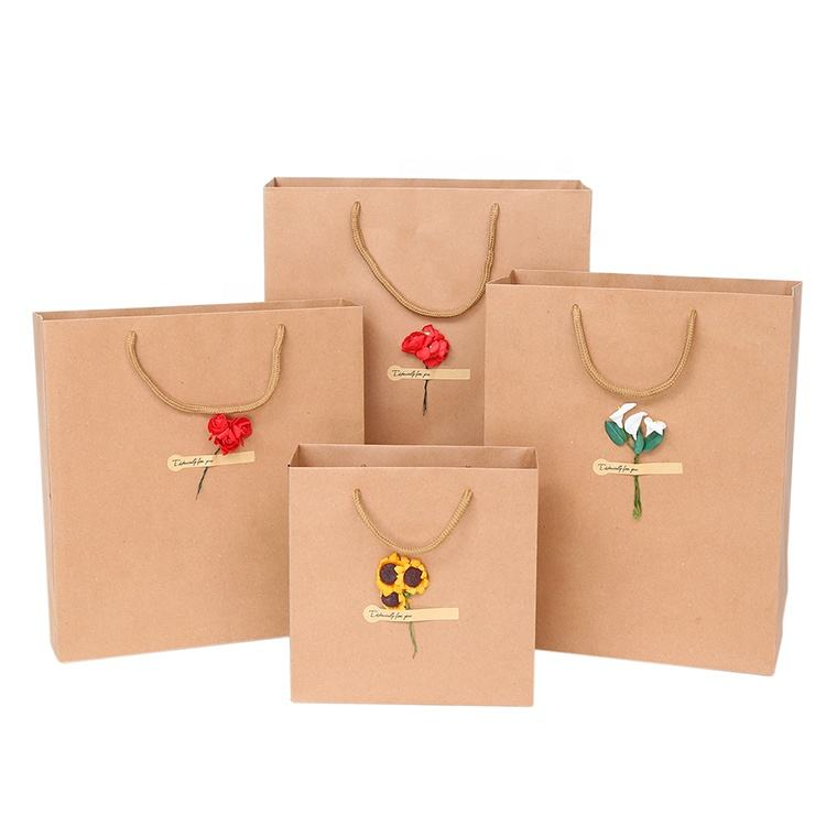 New Stylish DIY Flower Sticker 6 Size Advertising Gift Garment Tea Package Paper Tote Bag