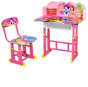 Adjustable cartoon picture children furniture children study table and chairs set