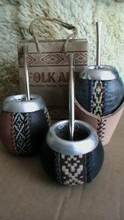 3 LUXURY MATE GOURDS CUPS KITS STRAWS YERBA ARGENTINA