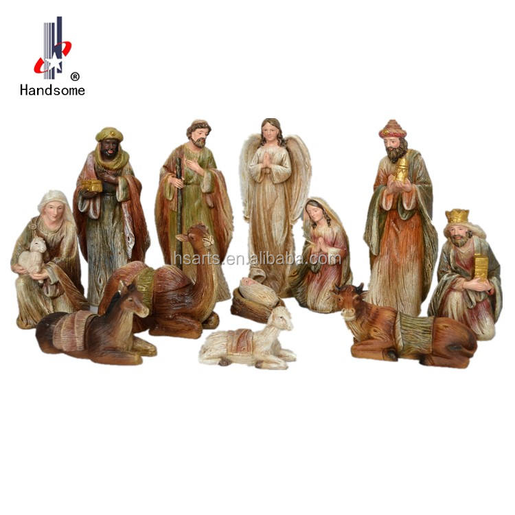 8 Inch Resin Wood Grain Copy Religious Craft China Nativity Set