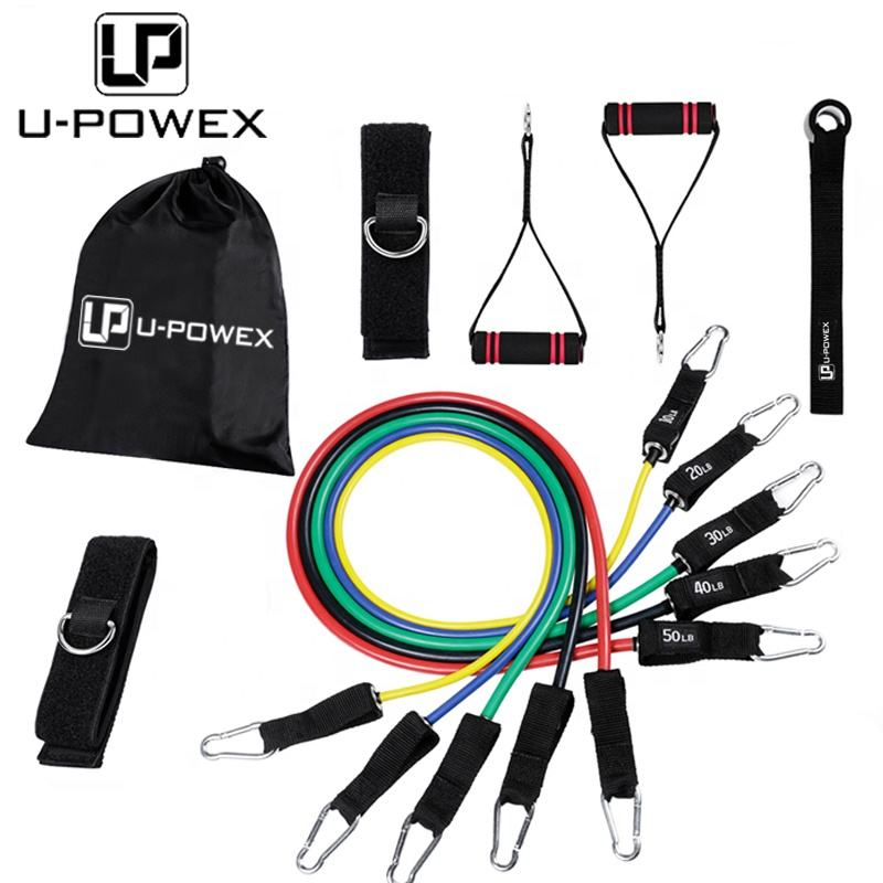 Custom logo Fitness Power Kits strength training Latex Band Resistance tube 12 pcs set with handles,door anchor,ankle straps