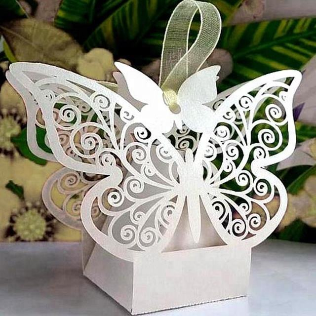 Best selling Butterflies shaped wedding candy box and wholesale custom wedding favors candy boxes