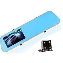 Super thin 4.3inch TFT LCD monitor car dvr rearview mirror with gold frame