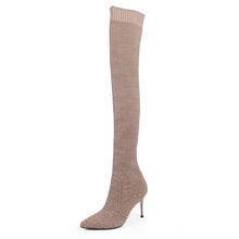 Stretch Fabric Sexy Over The Knee High Heels Christmas Winter Women Thigh High Boots