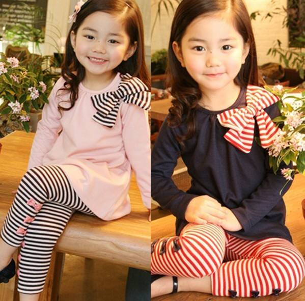 Children Casual Plain Striped Girls Dresses And Leggings Set For Shopping
