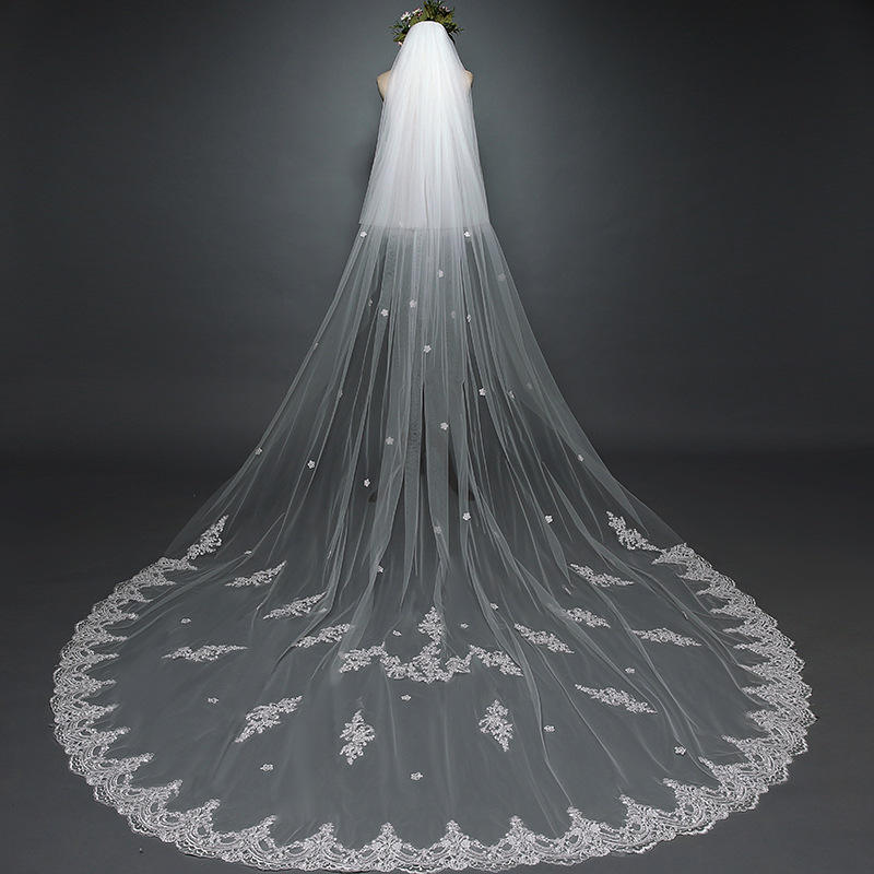 European Fashion 3 Meter Long Lace Bridal Veils With Vein DX9027