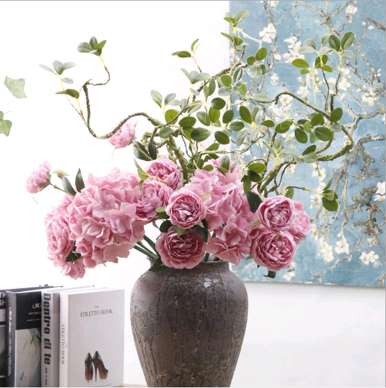 Western rose European core 3 peony artificial flower manufacturers home decoration wedding wall