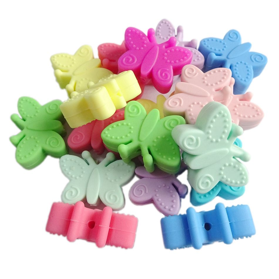 BPA Free Food Grade silicone butterfly beads silicone baby teething beads
