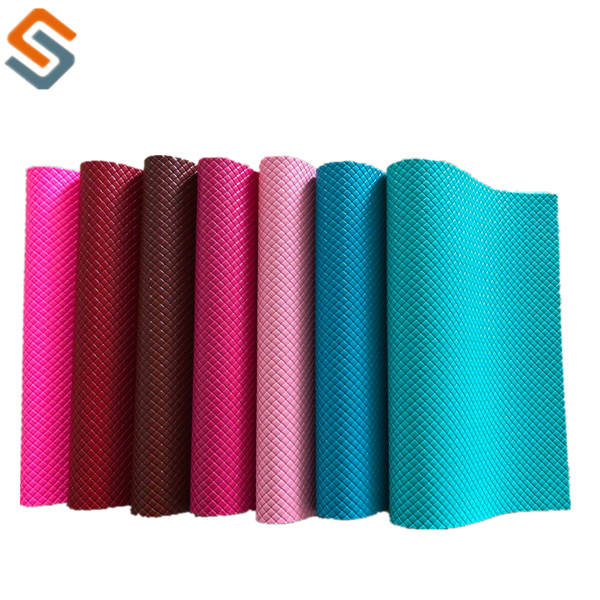 1.0mm nonwoven fabric backing knit lines embossed for bag leather PVC artificial
