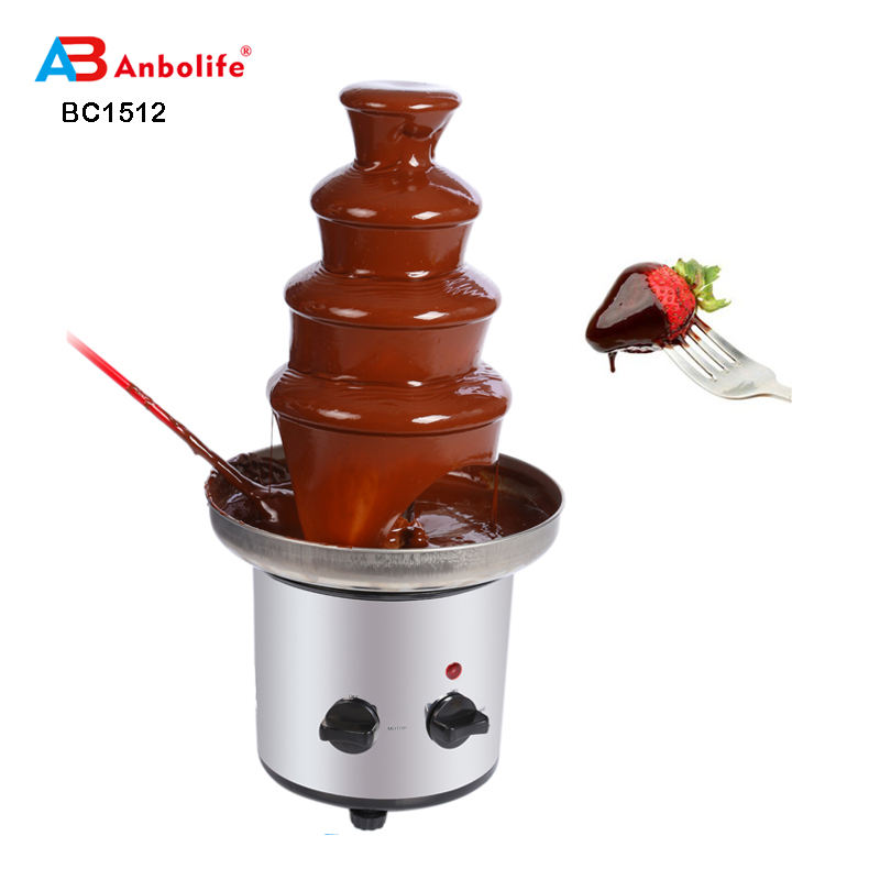 Anbo elektronik mini rumah tangga profesional Mudah Operasi Triple chocolate fountain
