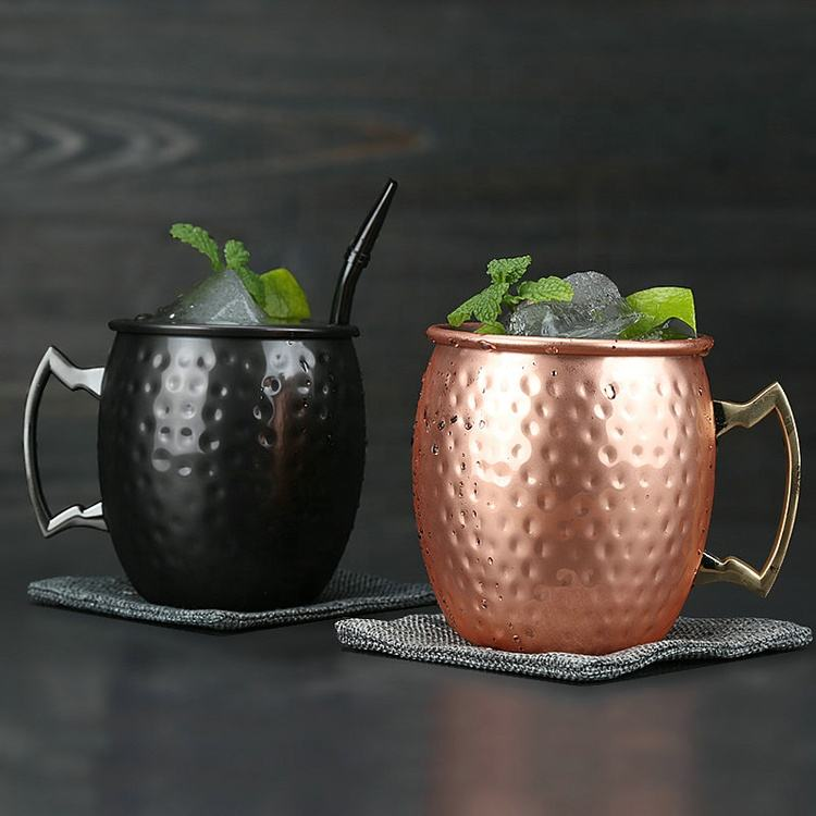 Shiny stainless steel hammered Russian standard solid copper mugs wholesale moscow mule mugs