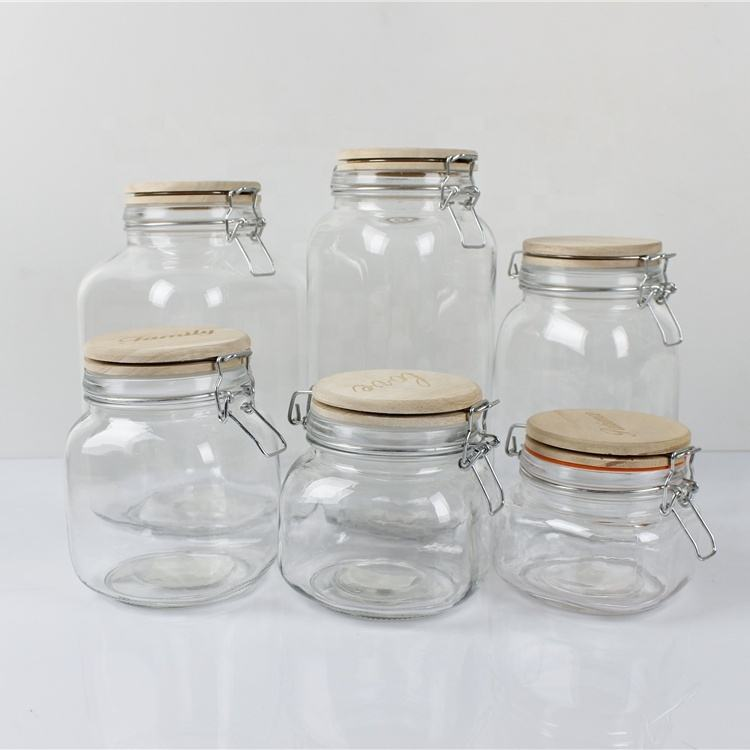 500ml 750ml 1000ml 1500ml 2000ml 3000ml Home Storage wooden lid Jar Glass Container with Metal Clip