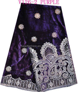 V126-2 purple color high velvet lace for party / high qualitylong sleeve velvet dress with lace for wedding/ velvet lace fabric